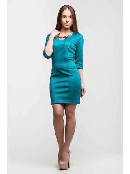 Платье Замш Доратти (голубой)