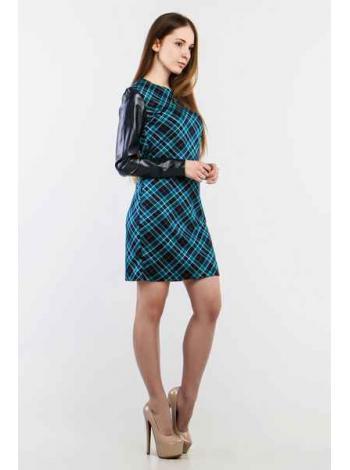 Платье Скотланд кожа (голубой)