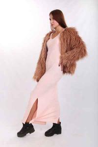 Aisha (brown) Lama short fur coat