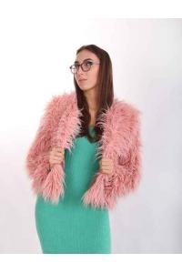 Aisha (pink) Lama short fur coat