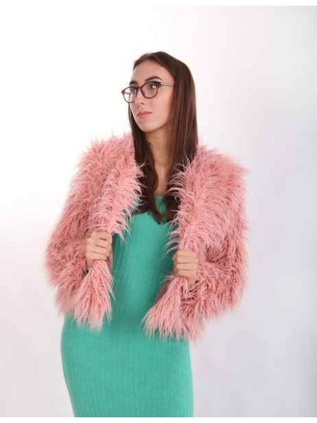 Полушубок из искусственной ламы Аиша (розовый)