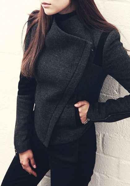 короткое черное женское пальто-куртка