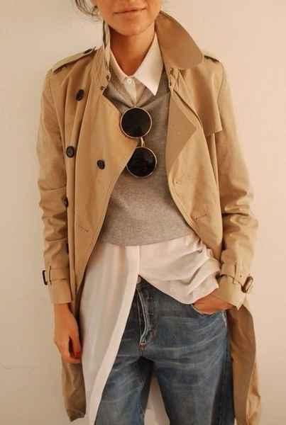 стильное бежевое женское пальто тренч