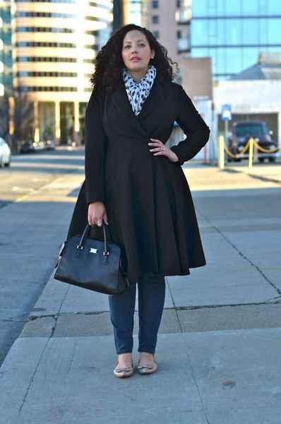 черное пальто для полных фото