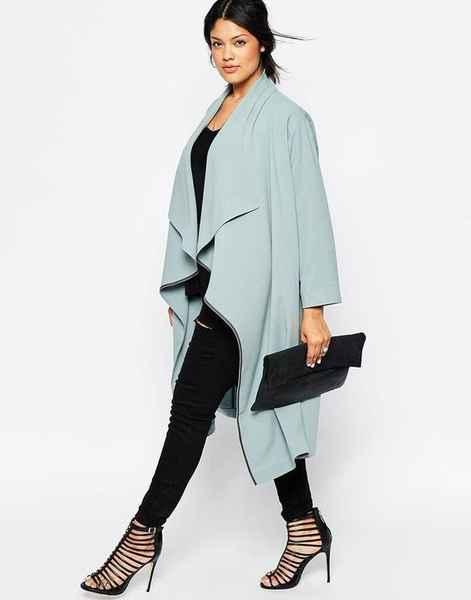 голубое пальто для полных весна 2016